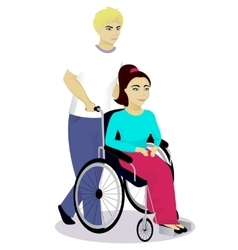 girl with disabilities in a wheelchair with boy vector image vector image