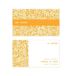 golden lace roses horizontal stripe frame pattern vector image
