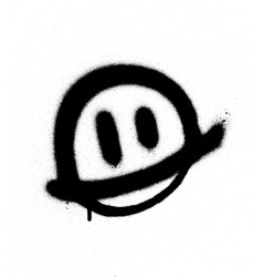 Graffiti smiling face emoticon in black on white vector
