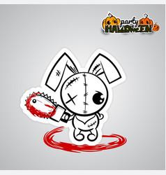 halloween evil bunny voodoo doll pop art comic vector image vector image