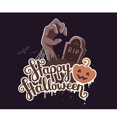 Halloween of zombie hand in a graveyard with vector