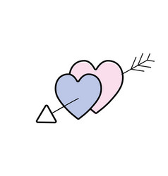 Hearts with arrow to symbolic of passin and love vector