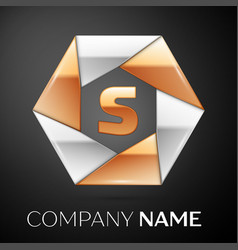 letter s logo symbol in the colorful hexagon on vector image
