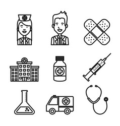medical equipment staff supplies healthcare icons vector image
