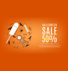 Orange web banner with treats for halloween sale vector