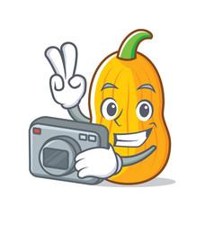 Photographer butternut squash mascot cartoon vector