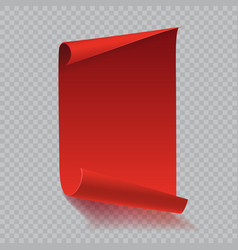 Red curved paper scroll with shadow on white vector