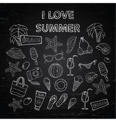 Scrap set I love summer on blackboard vector image vector image