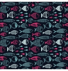 Seamless pattern with hand drawn funny fishes in vector