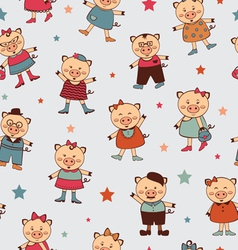 Seamless pigs pattern vector image