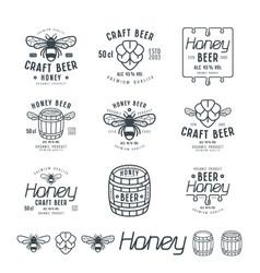 Set of honey beer labels vector