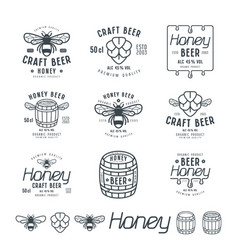set of honey beer labels vector image