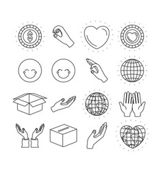 Silhouette icons set earth world and charity vector