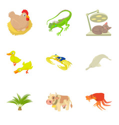 Veterinary supervision icons set cartoon style vector