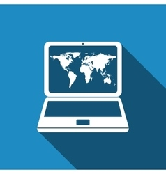 World map in laptop icon with long shadow vector image
