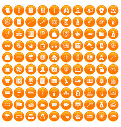 100 police icons set orange vector