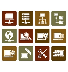 Flat network server and hosting icons vector