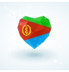 Flag of eritrea in shape diamond glass heart vector