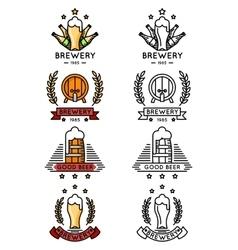 Beer logo set Mugs and bottles kegs barrels for vector image