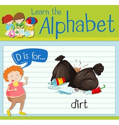 Flashcard alphabet d is for dirt vector