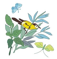 Small bird on branch - summer nature vector