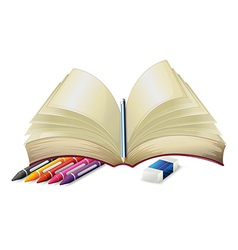 A book with a pencil an eraser and crayons vector