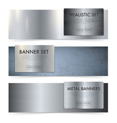 Metal sheets texture realistic banners set vector