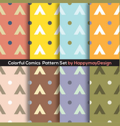 colorful graphic set 0f 8 ready to use pattern vector image