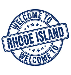 Welcome to rhode island blue round vintage stamp vector
