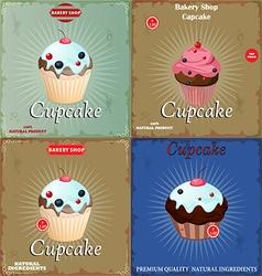 Set vintage cupcake vector