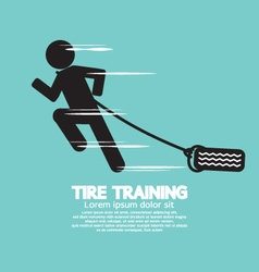 Runner with tire training symbol vector