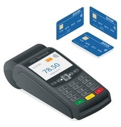 Credit card terminal on a white background vector