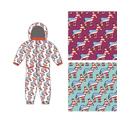 Democrat baby childrens clothing donkey seamless vector