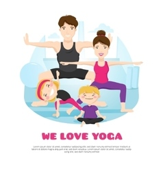 Family practicing yoga cartoon poter vector