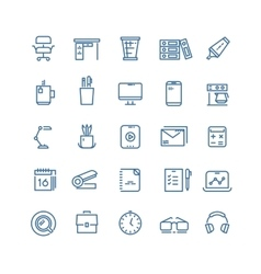 Office workspace thin line icons vector