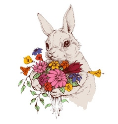 Bunny and a bunch of flowers vector image