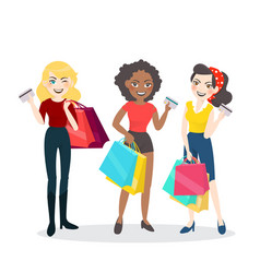 Cartoon woman group with shopping bag and credit vector