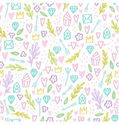 Cute doodle seamless pattern vector