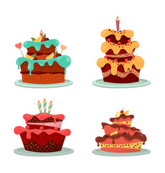 Dessert cakes with cream and chocolate candle vector