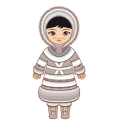 eskimo clothes north girl vector image