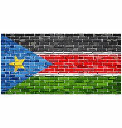 Flag of south sudan on a brick wall vector