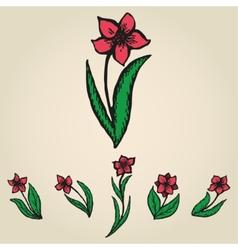 Floral doodling flowers like narcissus set vector