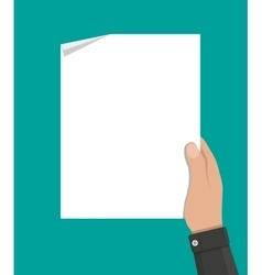 hand holding empty blank paper vector image vector image