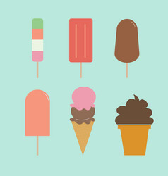 ice cream set set of ice-creams and popsicles vector image
