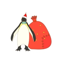 Isolated Christmas King penguin vector image vector image