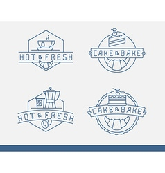 Linear labels for cafe menu with tea and coffee vector image