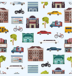 modern urban city buildings and transport seamless vector image