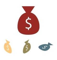 Money bag icon set Isometric effect vector image vector image