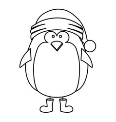 Monochrome contour of penguin with boots and vector