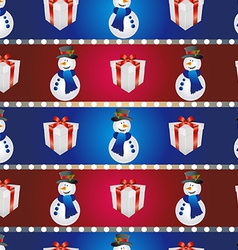 New year pattern with snowman and gift Christmas vector image vector image